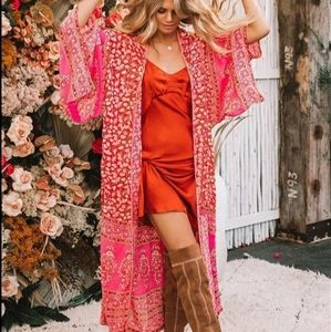 New Boho Pink Print Open Front Chiffon Cover Up